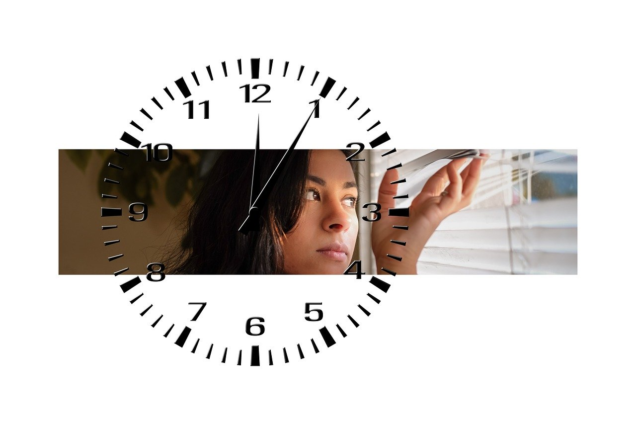 woman, wait, clock