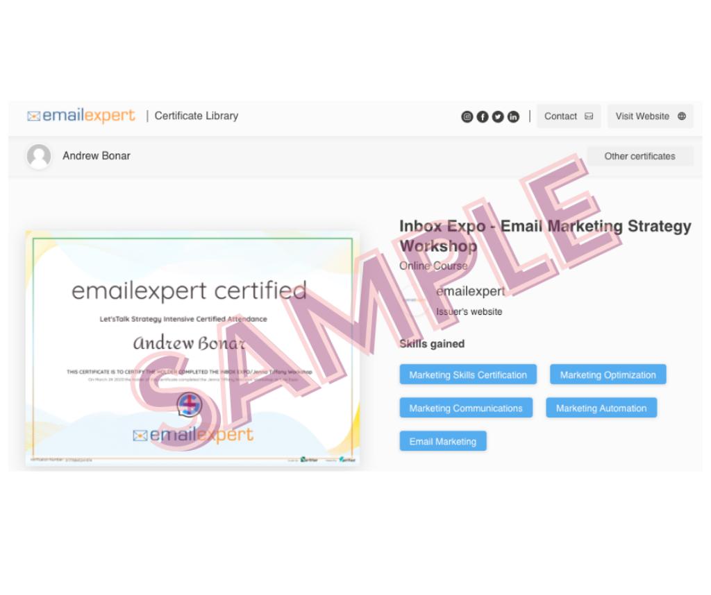 Sample of emailexpert certification of attanedance