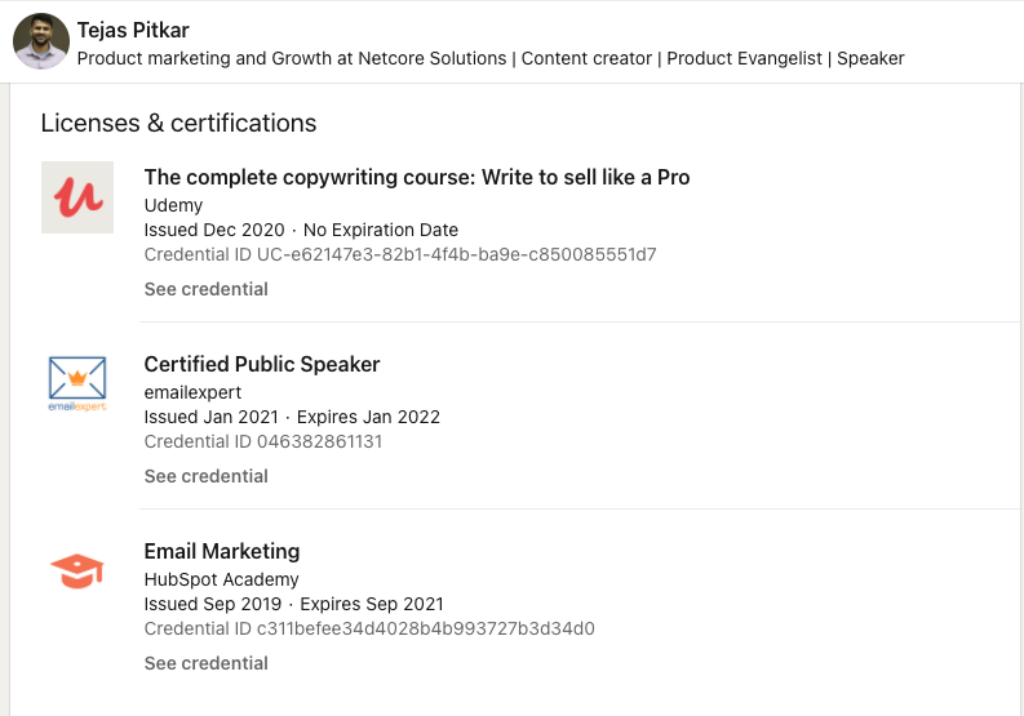 "Tejas Pitkar Product marketing and Growth at Netcore Solutions | Content creator | Product Evangelist | Speaker Message  More…  Background Image Tejas Pitkar Message  More… Tejas Pitkar  1st degree connection1st Tejas has a account Product marketing and Growth at Netcore Solutions | Content creator | Product Evangelist | Speaker Thane, Maharashtra, India  379 connections  Contact info  Netcore Solutions  QUT (Queensland University of Technology) Highlights Swapnesh Patra Sandeep Saxena 82 mutual connections You and Tejas both know Swapnesh Patra, Sandeep Saxena, and 80 others   Reach out to Tejas for... Probono consulting and volunteering. Message Tejas  Show more About  ""When an IT engineer slipped by accident into the world of email marketing. And he never looked back again..."" ... see more   Activity 382 followers View Ankur Warikoo's profile Being stoic in nature helps. We have no external control, so there is no need to waste time, energy on it. Focus on being present. Tejas commented  Brilliant! Tejas commented Go-getter award 2020 Thanks Raghav! Tejas replied to a comment Go-getter award 2020 Thanks, Jeanne Jennings for all your support and kindness. 🙏 Tejas replied to a comment See all activity See all activity Experience Netcore Solutions Company NameNetcore Solutions Total Duration3 yrs 11 mos TitleProduct Marketing and Growth Full-time Dates EmployedMar 2020 – Present Employment Duration1 yr LocationThane, Maharashtra, India - Website lead generation, signups, etc. - Write thought leadership content and maintain Industry relations - Write industry benchmark reports: https://netcorecloud.com/resources/report/email-benchmark-report-2020 survey insight reports: https://netcorecloud.com/resources/report/survey-report-how-do-your-users-feel-about-your-emails-in-the-current-crisis - Copywriting for emails,website copy, case studies, etc. - Product evangelism TitleDeliverability Engineer Dates EmployedApr 2017 – Mar 2020 Employment Duration3 yrs LocationThane city, India * Monitor Transition of mails from App servers to PMTA/Postfix to eventual ISP servers.  * Work on Linux based servers and configure Mail Transfer Agents to deliver mails across PMTAs.  * Solve complex automation and spam issues.  * Inboxing of mails of ISP and corporate domains for clients.  * Scaling upon Email volumes of the user base for the client marketing campaigns.  * Routing, domain pointing, Enabling DKIM and SPF , DMARC.  * Enabling DNS settings for onboarding clients.  * Ensuring that the client follows Email authentication methods like DKIM, DMARC, SPF strictly.  * Working on scaling up of infrastructure like shared domains.  * Reviving poor-performing domain infrastructure and optimizing performance for high mailing volumes.  * Suggesting promotional strategies for top brands for increasing their ROI and engagement from Email campaigns.  * Warming up fresh IPs and using them to boost email delivery for recipients.  * Analyze the engagement metrics and strategize client data to acquire more ROI for promotional marketing campaigns.  * Write and publish content featuring blogs and videos for topics involving Email Deliverability on the company website.  * Evangelism of the product through videos and blog content. (Email Tlak - Youtube channel)  * Writing Thought leadership blogs to establish authority over Deliverability Expertise.  * Connecting with Influencers and Industry leaders to collaborate and exchange thoughts on evolving trends in the Email Marketing industry. … see more Able computing I.T./ Network Engineer Company NameAble computing Dates EmployedJul 2016 – Nov 2016 Employment Duration5 mos LocationBrisbane, Australia Responsibilities:  - Talking to customers effectively, finding the exact fault description. - Working independently and proactively on solving issues as they appear, as well as working together on group tasks collaboratively. - Creating summary reports on testing and other network related issues. - Doing sales and communicating confidently about the products to the customers.  Challenges:  - Troubleshooting issues with LAN switches and firewalls. - Providing network security from various network attacks. - Troubleshooting bandwidth issues. - Communicating effectively with foreign customers and understanding their core requirements. … see more Education QUT (Queensland University of Technology) QUT (Queensland University of Technology) Degree NameMasters in I.T.Field Of StudyI.T. Dates attended or expected graduation2014 – 2016  Queensland University of Technology Queensland University of Technology Degree NameMasters in I.T.Field Of StudyInformation Technology Dates attended or expected graduation2014 – 2016  Activities and Societies: Code Network KJSIEIT KJSIEIT Degree NameBachelor of Engineering (B.E.) I.T.Field Of StudyInformation TechnologyGradeFirst class Dates attended or expected graduation2009 – 2013  Show 1 more education  Licenses & certifications Udemy The complete copywriting course: Write to sell like a Pro Issuing authorityUdemy  Issued date and, if applicable, expiration date of the certification or licenseIssued Dec 2020No Expiration Date  Credential IdentifierCredential ID UC-e62147e3-82b1-4f4b-ba9e-c850085551d7  See credential emailexpert Certified Public Speaker Issuing authorityemailexpert  Issued date and, if applicable, expiration date of the certification or licenseIssued Jan 2021Expires Jan 2022  Credential IdentifierCredential ID 046382861131  See credential HubSpot Academy Email Marketing Issuing authorityHubSpot Academy  Issued date and, if applicable, expiration date of the certification or licenseIssued Sep 2019Expires Sep 2021  Credential IdentifierCredential ID c311befee34d4028b4b993727b3d34d0"